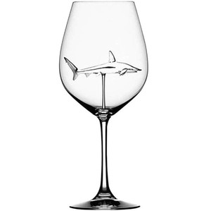 NEW Red Wine Glasses - Lead Free Titanium Crystal Glass Elegance Original Shark Red Wine Glass with Shark Inside Long Stemmed Glassware