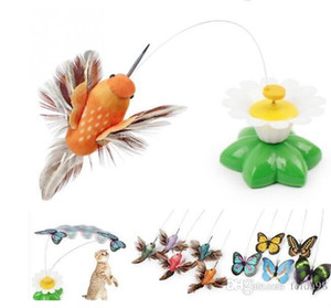 Funny cat toy Electric butterfly flying around the flower pet cat toys Cat Pet Toy G813