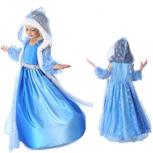 Nuovo vestito per abbigliamento per neonate Abbigliamento con cappuccio Abito con cappuccio Abito congelato 2 Princess Girl Cenerentola Dress Bambini Cotton Blends Abiti da principessa di Halloween