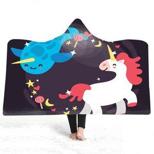 Çocuklar Ünlü Tasarımcı Battaniye Kalın Sıcak Aşınma Sevimli Karikatür Gökkuşağı Fanila için 20style Unicorn Kapşonlu Battaniye