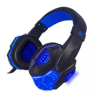 3.5mm USB verdrahtete Spiel-Stirnband-Kopfhörer mit LED-Licht Surround-Stereo-Headset für XBOX PS4 Spielkonsole-Computer - Red