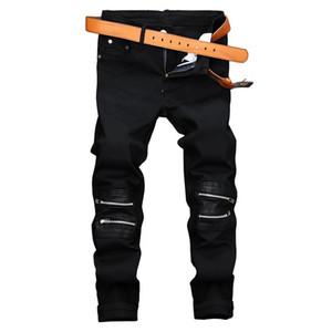 Men's Jeans Black Zip Decorative Casual Pants Men's Elastic Slim Straight Nightclub Trendy Men 2020