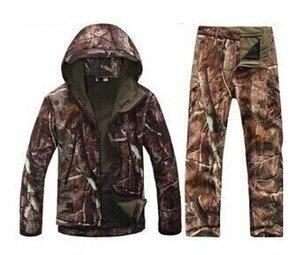 ropa de caza tiburón del camuflaje de la piel suave lurkers shell v 4.0 tad al aire libre táctica militar chaqueta de lana + juegos de pantalones uniformes SC081