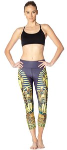 Ancient Egyptian Statue Printing Slender s Breath and Sweat Absorption Super Bomb Lady Seven-point lady Pants leggings