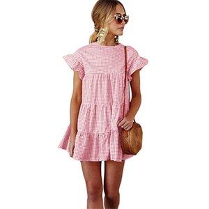 HiloRill Short Sommerkleid Kurzschluss-Hülsen-Weinlese-Plaid-Kleid-Frauen Aufflackern-Hülsen Rüschen Bohemian Strand Sundresses fz2044