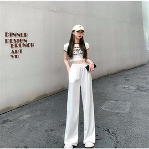2020 New Summer Women Trousers Pants Casual Wide Leg Sports Pants High Waist Straight Solid Color Pocket Free Shipping