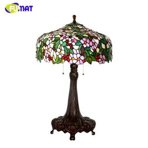 FUMAT Art Vitrail Lampe De Table De Luxe Pomme Fleur Abat-Jour Lampes Pour Le Salon Hôtel Librairie Bar Décor Table Lumières