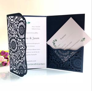 Горизонтальный лазерная резка свадебные приглашения карты с RSVP карты белый темно-синий жемчуг бумаги пригласить Cardstock для День Рождения поставки