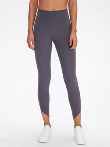 LU-93 Women's High Waist Leggings Sports Yoga Tights High Rise Pocket Yoga Sportswear Nine Points Pants