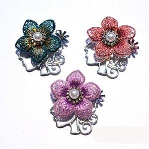 Elegant Rhinestone Brooches for Women Fabric Flower Pearl Pin Ladies Sweater Garments Bridal Brooch Accessories Vintage Jewelry