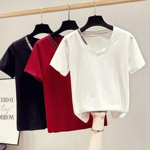 gkfnmt algodón mujeres de la camiseta del bordado de la letra del verano 2020 Tops moda coreana hembra de la camiseta T Shirts Hembra ropa de mujer
