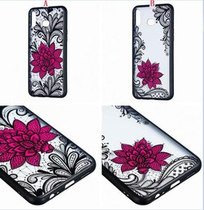 3D Lotus Flower Matte TPU PC Hard Case For Samsung Galaxy A30 A40 A50 A70 M10 M20 S10 PLUS S10E Relief Frosted Skin Back Cover Luxury 100pcs