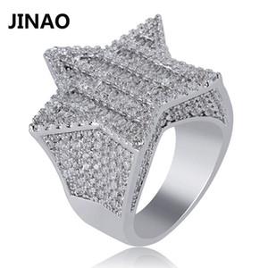 Jinao new design de ouro cor prata cinco pontas-anel estrela micro pavimentada grande zircão brilhante hip hop anel de dedo para mulheres dos homens presente j190715
