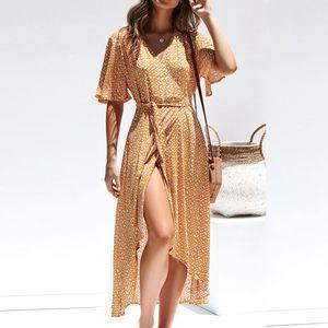 2020 Summer Casual Femmes Robe imprimée Maxi demi manches à encolure en V robe longue de bureau Mode femme taille haute de Split Hem Robe