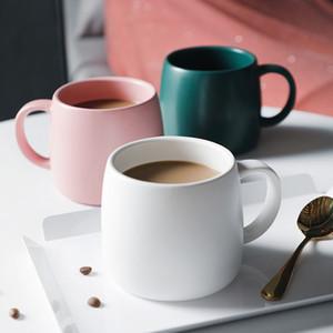 손잡이 조반 우유 찻잔을 가진 커피 잔 사무실 가정 세라믹스 커피잔 검정 백색 분홍색