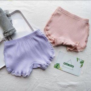Летние девушки шорты шорты кружева девушка безопасности брюки твердое цветовое нижнее белье шорты милые трусы бутик детская одежда 5 цвета 7 шт. DW5458