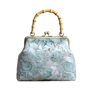 Embroidery Flower Handbag Chinese Retro Ethnic Style Silk Women's Bag Bamboo Handle Fashion Show Bag Temperament Banquet