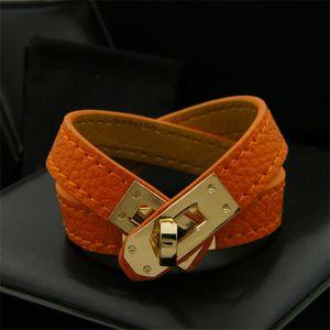 Klassische Weinlese-mehrschichtige PU-Leder-H-Armbänder für Frauen Stulpearmbänder Männer Goldschnalle Armband Pulseras Hombre Mann Accessoires Schmuck