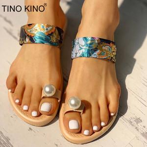 TINO KINO Mujeres Flor perla plana tanga zapatillas de verano señoras de cristal de deslizamiento sobre el Comfort Chanclas Zapatos de última moda de mujeres