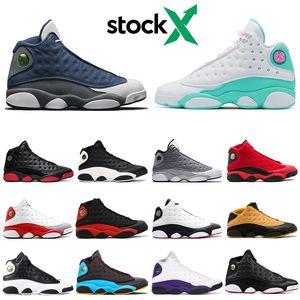 Кремень Stock X 13 13s мужских ботинки баскетбола остров зеленый черного кот История полет Он доигрался DMP спортивных кроссовок 7-13