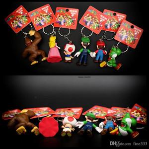 18pcs / lot nette Mario Bros Keychain Mario Luigi Pilz Toad Prinzessin Peach PVC Action-Figur Spielzeug