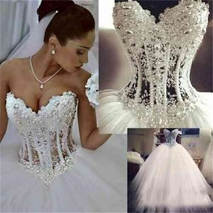 2020 Aline Wedding Dresses Comprimento Pavimento Querida princesa vestidos de noiva frisada Lace Pearls Custom Made