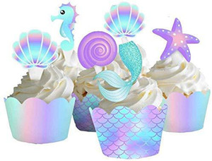 40pcs Pack Mermaid Cake Border Baby Cake Topper Kids Birthday Cupcake Wrapper Decorating Tool Wedding Birthday Party Supplies