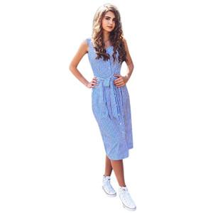 vestir KANCOOLD vestido de las mujeres las mujeres vestido sin mangas a rayas azules del partido atractivo del verano del vendaje solo pecho de envío