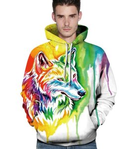 2019FREE SHIPPING Multicolored Wolf Head 3D Hoodies Sweatshirts Hoodies Sweatshirt Lovers'Hoodies & Sweatshirts Clothes