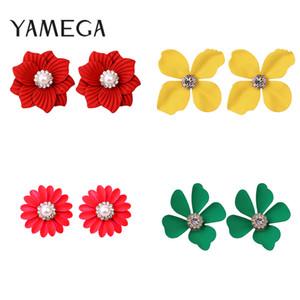 Fashion Spring Flower Earrings Sweet Pearl Ear Stud Painted Colorful Earrings For Women Girls Trendy Jewelry 2020 New Arriavel