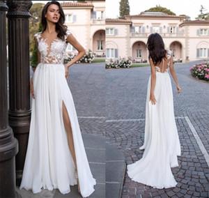 2020 Boho Summer Beach Wedding Dresses Appliques Split Front Chiffon Bridal Gowns Vestido de noiva Cheap Sale