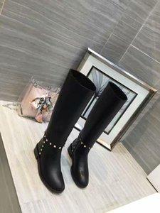 Hot Vente- Knee High Martin Bottes Brun Noir Slip Fashion Ladies épais Heeled Robe de mariée Parti Bottes Femme Chevalier Bottes Chaussures