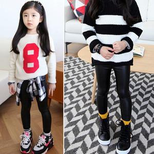 Nuevo otoño Bbay pantalones Hot Baby Girls niños elástico de piel sintética flaco sintético negro pantalones Leggings pantalones largo negro