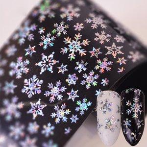 Clavo de Navidad láser etiqueta engomada del arte de la estrella del copo de nieve de la estrella de Navidad del Wraps completa del arte del clavo de la manicura del arte del clavo de transferencia Láminas