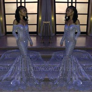 2020 Sexy African Блестки Русалка Пром платья Длинные рукава платья Pageant Sheer шеи атласная Длинные вечера партии платья BC3306