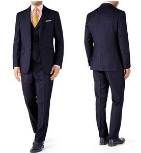 Drei Stücke Dark Navy Hochzeits-Smoking Bräutigam Groomsmen Suits Business-Reise-Gelegenheits-Abendessen-Abschlussball-Partei der Männer der Männer