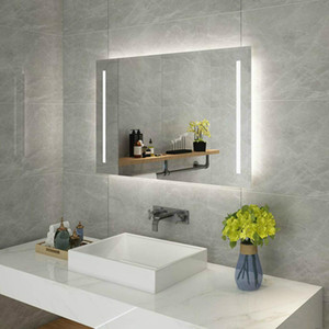 Rectangular Wall Mount LED Vertical Lighted Vanity Bathroom Mirror Anti Fog Dimmer Touch Bedroom Home Furniture Makeup Cosmetic Light Mirror