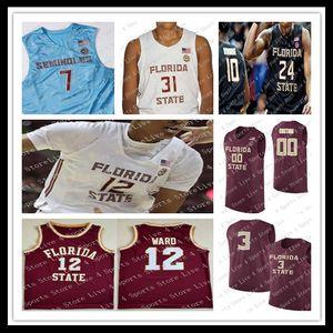 Personalizzato 2021 Seminole dello stato della Florida Malik Osborne Wyatt Wilkes MJ Walker Devin Vassell Trent Forrest Polite FSU College Basket Blay Jersey