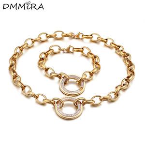 Мода женщины, как серебро золото из нержавеющей стали круглый полые Cricle Кристалл крюк ups звено цепи браслеты ожерелье ювелирные изделия наборы