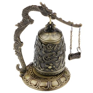 Chinese Crafts Vintage Style Bronze Lock Dragon Carved Buddhist Bell Antique Home Decoration