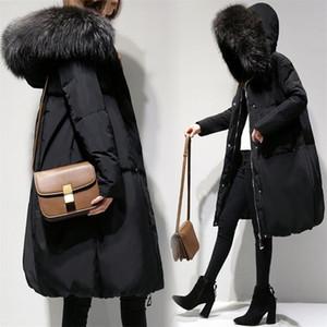 Nueva 6XL Otoño Invierno Abrigos Plus tamaño de la manera Vestidos Loose cuello de la piel de la capa para mujeres más grandes de la capa de abrigo de algodón con capucha