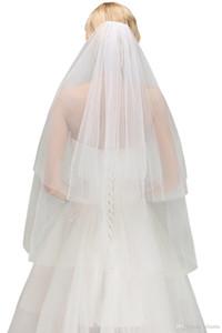Weiß Elfenbein-Hochzeit Bikini Schleier zwei Schichten Günstige 2020 Kopfstück Schleier mit Kamm-Brautzusätze Auf Lager Kostenloser Versand CPA1443