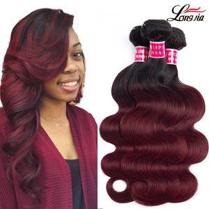 T1b / Borgonha Onda Do Corpo Ombre onda do corpo feixes de cabelo extensões de cabelo humano ombre malaio onda do corpo virgem cabelo