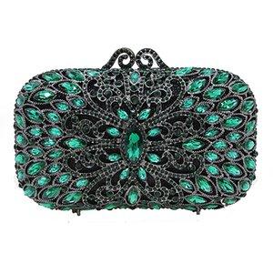 Silver Metal Green Crystal Ladies Clutch Bags XIYUAN Evening Bags  Rhinestone Women's Evening Bag Clutch Female Party Bag