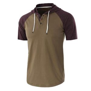 Tops Mens Verão Hoodies Casual Casual manga curta respirável Cap Collar capuz masculino dos retalhos com capuz roupas