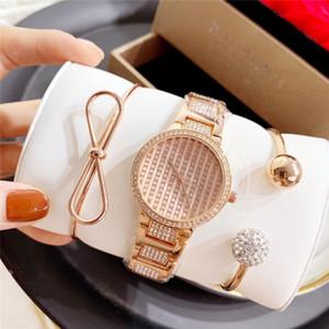 diamante de lujo de la marca HOT nuevos mujeres cuarzo rosa pulsera de reloj de acero de 33 mm MK reloj de acero de alta calidad para mujer relojes de oro