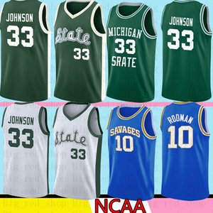 NCAA Michigan State Spartans 33 Earvin Johnson Magic LA Green White College 33 Larry Bird High School Baloncesto Jersey