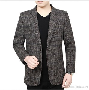 Spring Autumn Plaid Mens Blazers Fashion Designer Outerwear with Single Button Male Panelled Lapel Neck Slim Jackets