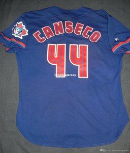 Ucuz Retro JOSE CANSECO 44. Russell TORONTO Jersey mavi Erkek Dikişli Beyzbol formaları İmzalı