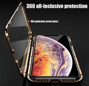 Magnetische Adsorption Metall Telefon-Kasten für iPhone 11 Pro Xr Xs Max X Full Coverage Aluminium Rahmen mit gehärtetem Glas Back Cover